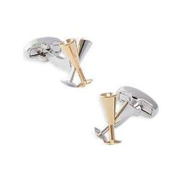 Egara Silver & Gold Champagne Flutes Cufflinks