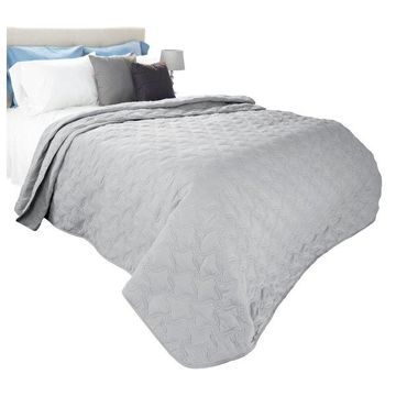 Solid Color Quilt by Lavish Home Twin, Silver