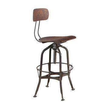 ACME Kaeso Adjustable Bar Chair in Walnut and Gunmetal