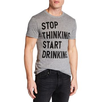 Men's Stop Thinking. Start Drinking. Printed Cotton T-Shirt