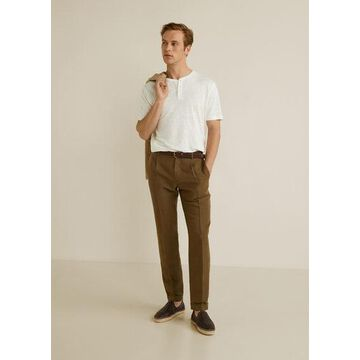 MANGO MAN - 100% linen Henley t-shirt white - L - Men