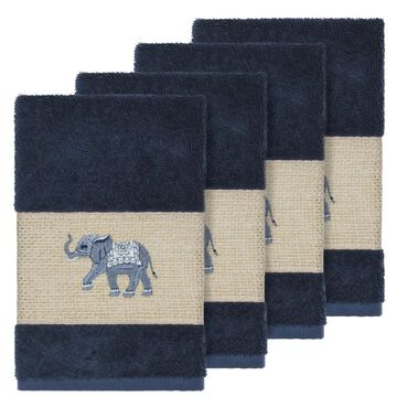 Authentic Hotel and Spa Turkish Cotton Elephants Embroidered Midnight Blue 4-piece Hand Towel Set