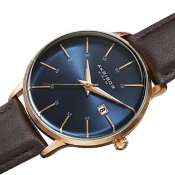 Akribos XXIV Men's Quartz Date Interchangable Leather Strap Watch (Rose Gold/Blue)