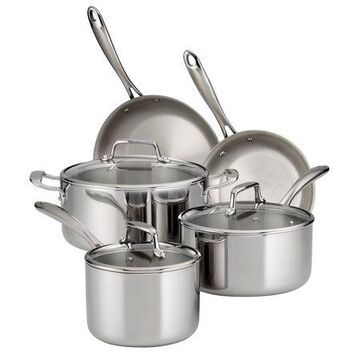 Tramontina 8 Pc Tri-Ply Clad Stainless Steel Cookware Set with Glass Lids