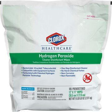 Clorox, CLO30827, Healthcare Hydrogen Peroxide Disinfecting Wipes, 185 / Each, White