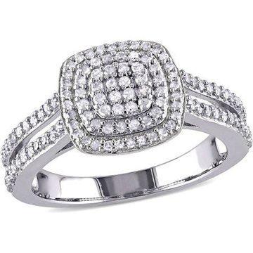 Miabella 1/2 Carat T.W. Diamond Sterling Silver Double Halo Split Shank Ring