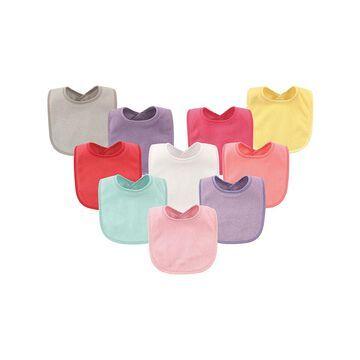 Hudson Baby Girls' Bibs Girl - Pink & Purple Waterproof Bib Set