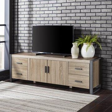 Walker Edison Metal and Wood TV Stand for TV's up to 78