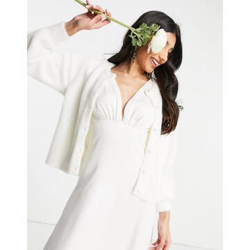 Y.A.S Bridal button through cardigan in white