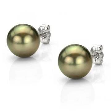 DaVonna 14k Gold 9.5-10 mm Black Tahitian Cultured Pearl Stud Earrings