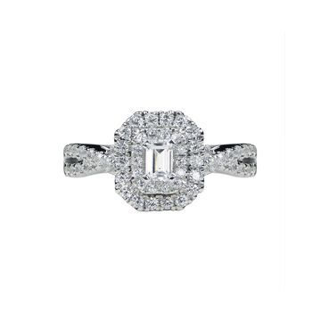 Modern Bride Signature 1 CT. T.W. Diamond 14K White Gold Emerald-Cut Bridal Ring