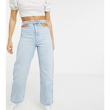 Weekday Lasso cut-out detail mom jeans in light blue