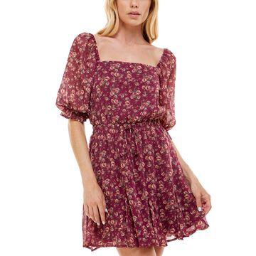 Trixxi Juniors' Floral-Print Godet-Hem Fit & Flare Dress
