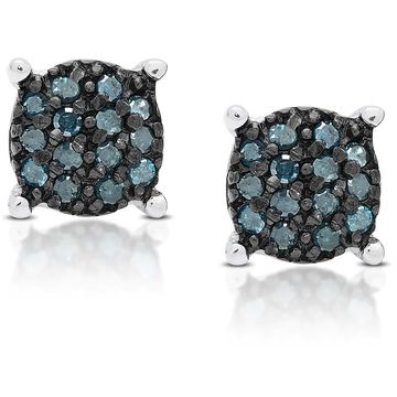 Finesque Sterling Silver 1/4 ct TDW Blue Diamond Circle Stud Earrings