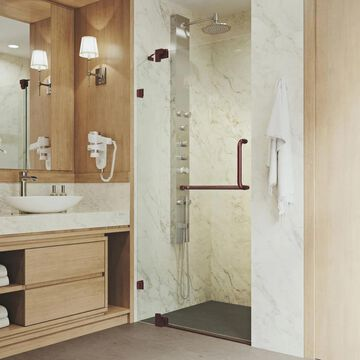 VIGO Pirouette 72-in H x 36-in to 42-in W Frameless Hinged Oil Rubbed Bronze Shower Door (Clear Glass) Stainless Steel | VG6042RBCL42