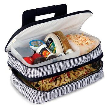 Entertainer Hot and Cold Food Carrier, Black/Red, Houndstooth