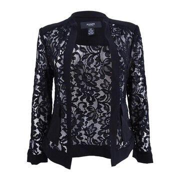 Alfani Women's Petite Lace Bomber Jacket - Deep Black