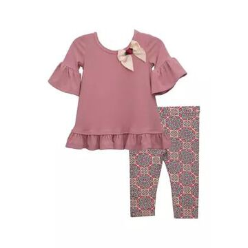 Bonnie Jean Girls' Baby Girls 2 Piece Bow Top And Leggings Set - -