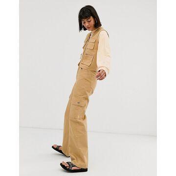 Monki Yoko organic cotton wide-leg utility jeans in beige