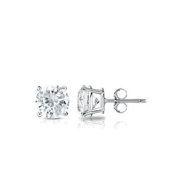 Auriya 3/5ctw Round Diamond Stud Earrings 18k Gold (White)