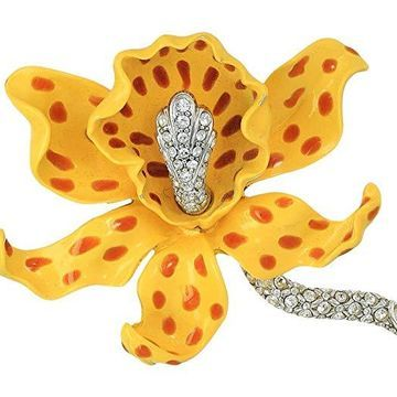 Kenneth Jay Lane Yellow/Brown Spots Orchid Pin (Yellow/Brown) Brooches Pins