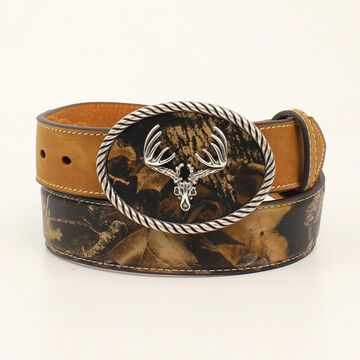 Nocona N24380222-44 Breakup Belt with Deer Buckle, Mossy Oak - Size 44