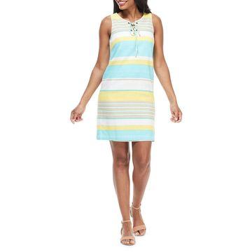 Striped Lace-Up Shift Dress