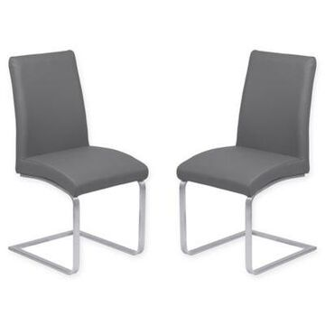 Armen Living Blanca Brushed Steel Dining Chairs In Grey (Set Of 2)