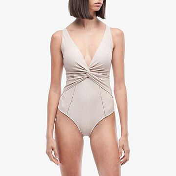 Jonathan Simkhai Metallic Front Twist One-Piece (Pink Sand/Silver) Women's Swimsuits One Piece