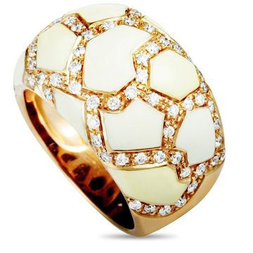 Roberto Coin Rose Gold Diamond and White Enamel Ring