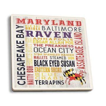 Maryland - Rustic Typography - Lantern Press Artwork (Set of 4 Ceramic Coasters - Cork-backed, Absorbent)