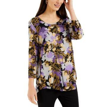 Jm Collection Floral-Print 3/4-Sleeve Top, Created for Macy's