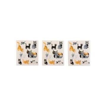 Design Imports Cats Everywhere Swedish Dishcloth, Set of 3