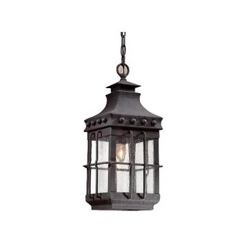 Dover, Outdoor Pendant, Natural Bronze Finish, Clear Seeded Glass