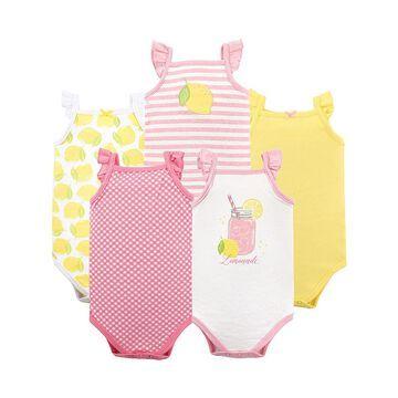Hudson Baby Girls' Infant Bodysuits Lemonade - Lemonade Ruffle Sleeveless Bodysuit Set - Newborn & Infant