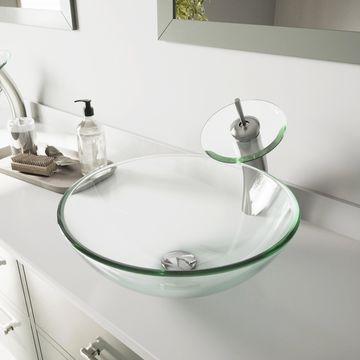 VIGO Crystalline Glass Vessel Bathroom Sink and Waterfall Faucet Set