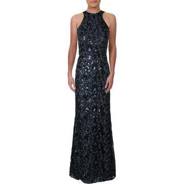 Carmen Marc Valvo Womens Sequined Halter Evening Dress