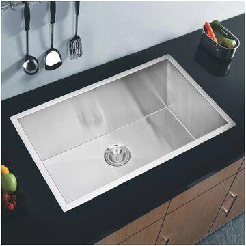 """32""""X19"""" Single Bowl 16g SS Undermount Kitchen Sink w Strainer"""