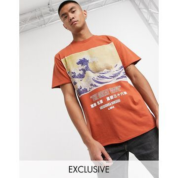 Reclaimed Vintage inspired wave print t-shirt in washed brown