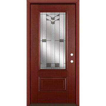 Masonite Frontier 36-in x 80-in Fiberglass 3/4 Lite Left-Hand Inswing Wineberry Stained Prehung Single Front Door with Brickmould in Red