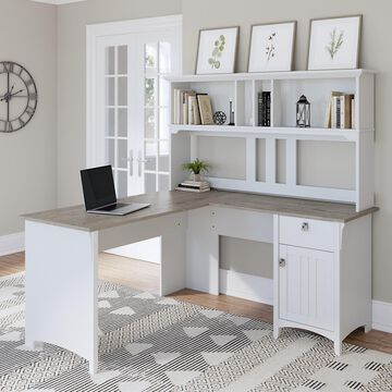 Bush Furniture Salinas Farmhouse 60 in L Shape Desk with Hutch, Box Drawer and Storage Cabinet in Shiplap Gray and White (Ships in 2 boxes)