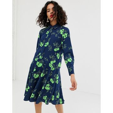 ASOS WHITE printed flower button through dress
