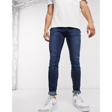 Jack & Jones Intelligence Liam skinny fit jeans in mid blue wash-Black