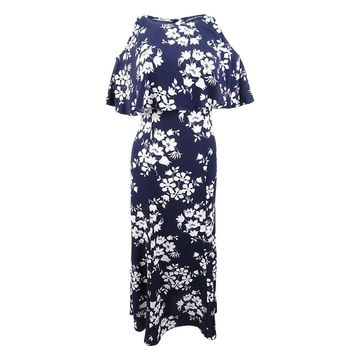 American Living Women's Floral-Print A-Line Dress - Navy/Cream