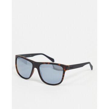 Polaroid square sunglasses in tortoise shell-Brown