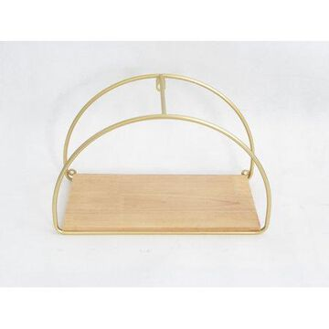 Mainstays Wood Wall Shelf with Brass Accents