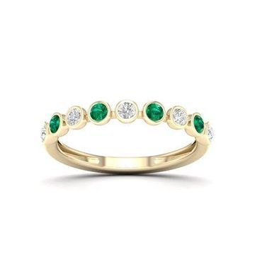 Imperial Gemstone 10K Yellow Gold Round Cut Emerald 1/6 CT TW Diamond Women's Band