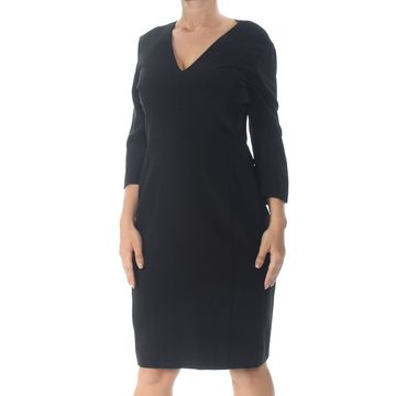 NARCISO RODRIGUEZ Womens Black Zippered 3/4 Sleeve Knee Length Dress Size: 10