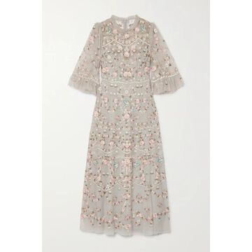Needle & Thread - Regency Garden Ballerina Ruffled Embroidered Tulle Midi Dress - Blue