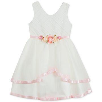 Big Girls Satin-Trim Fit & Flare Dress